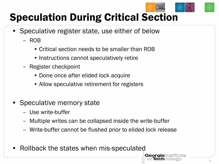 Speculation During Critical Section