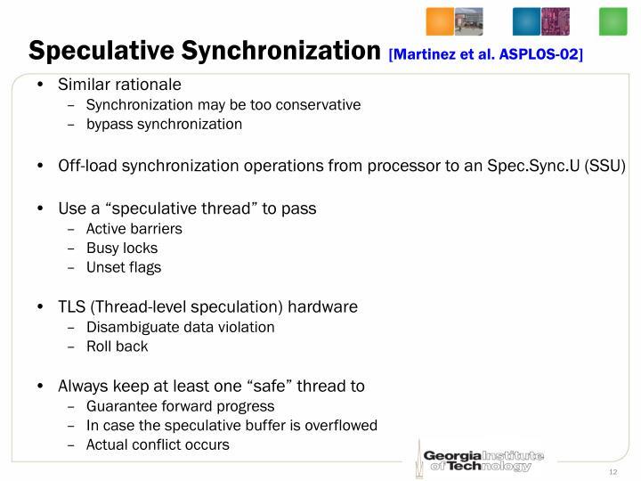Speculative Synchronization