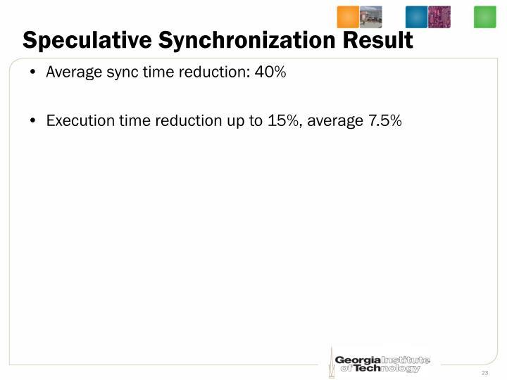 Speculative Synchronization Result