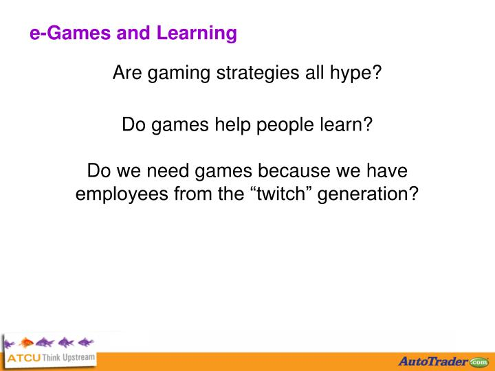 e-Games and Learning