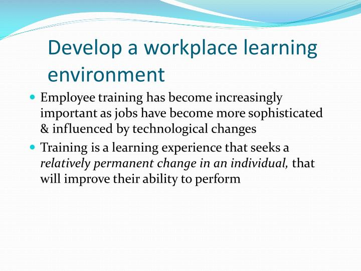 Develop a workplace learning environment1