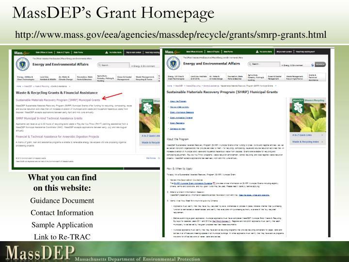 MassDEP's Grant Homepage