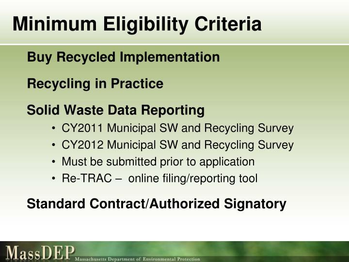 Minimum Eligibility Criteria