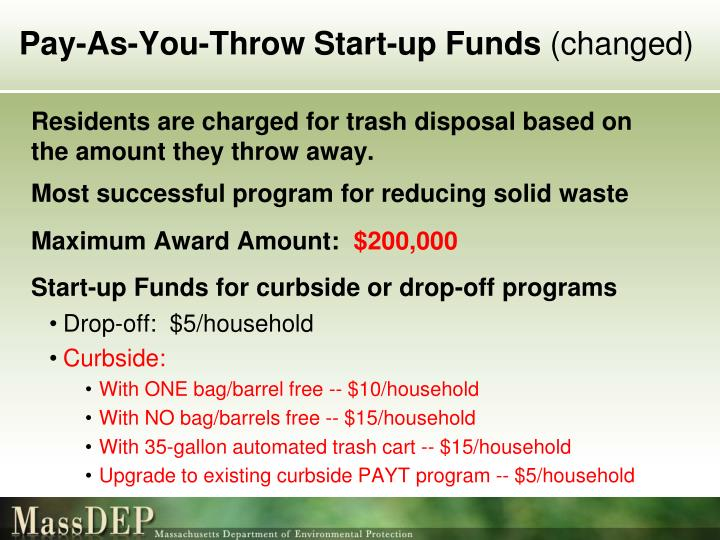 Pay-As-You-Throw Start-up Funds