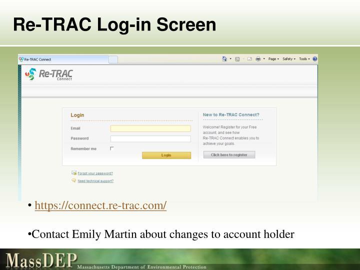 Re-TRAC Log-in Screen