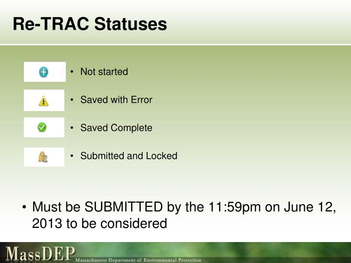 Re-TRAC Statuses