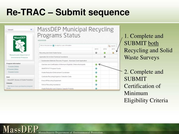 Re-TRAC – Submit sequence