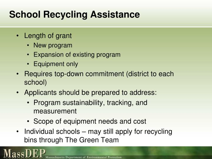 School Recycling Assistance