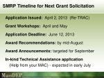 smrp timeline for next grant solicitation