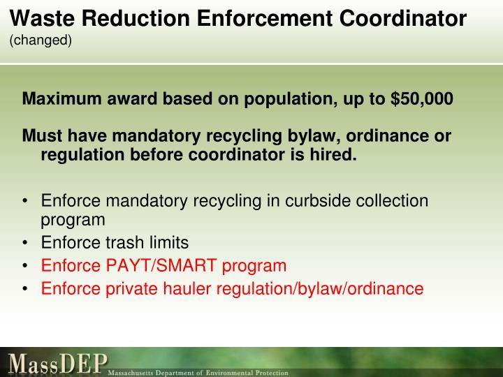 Waste Reduction Enforcement Coordinator