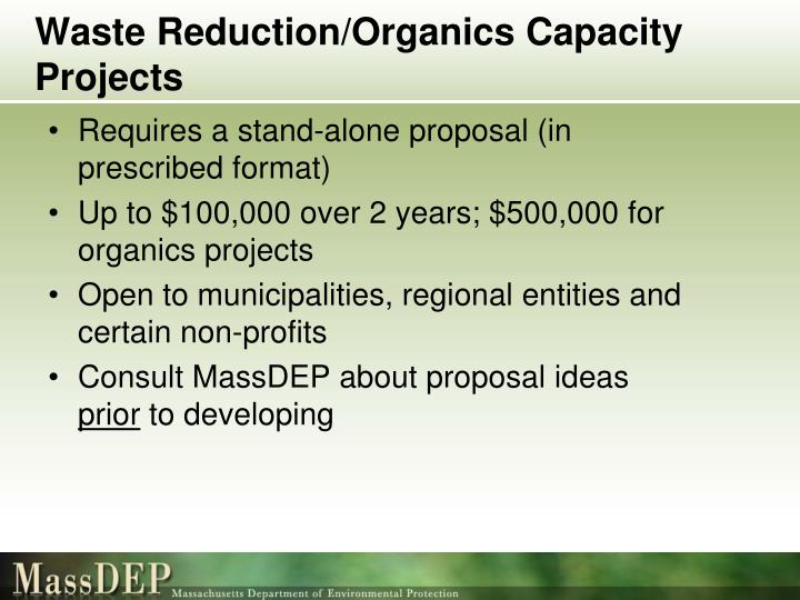Waste Reduction/Organics Capacity Projects