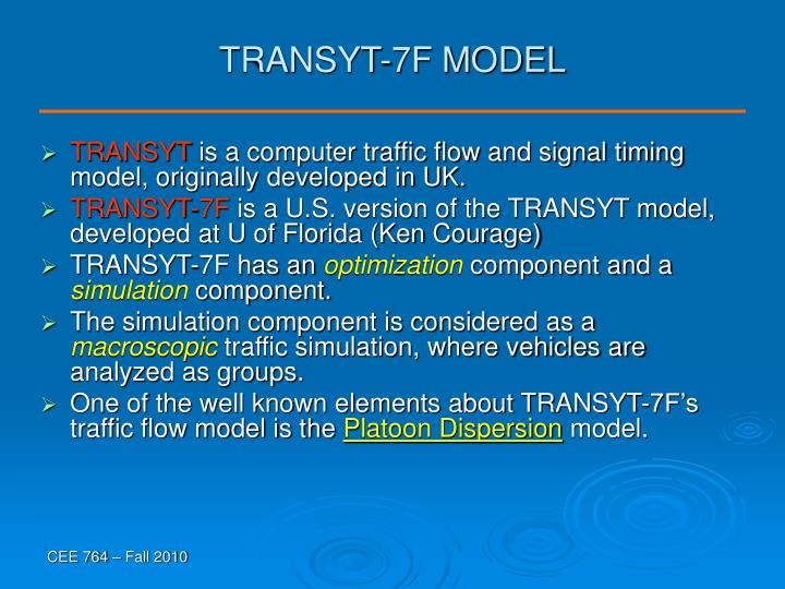 TRANSYT-7F MODEL