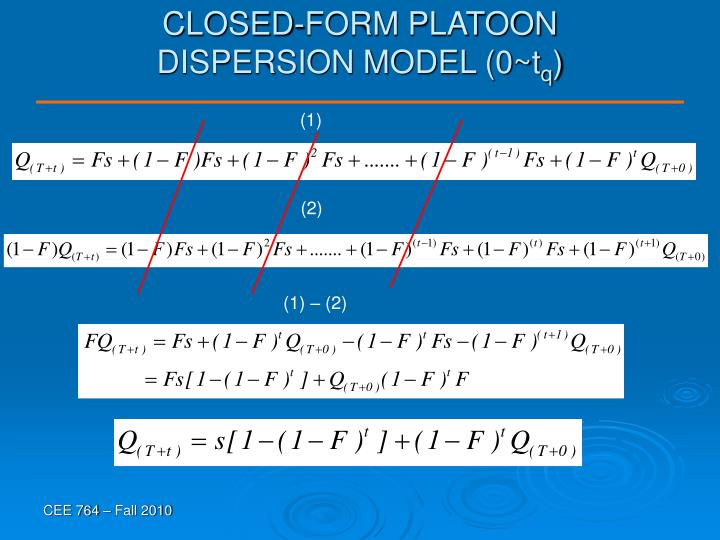 CLOSED-FORM PLATOON DISPERSION MODEL (0~t