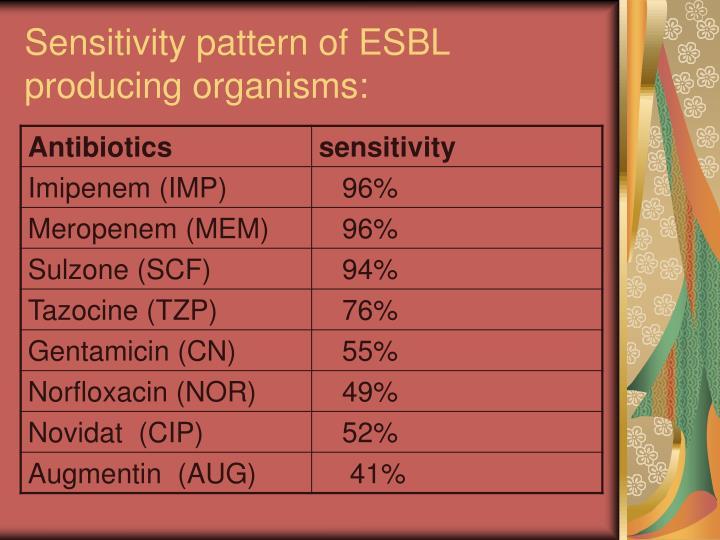 Sensitivity pattern of ESBL producing organisms: