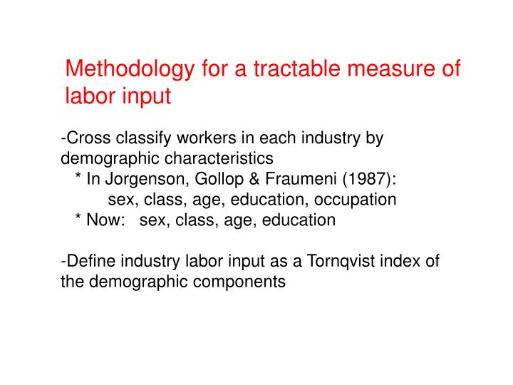 Methodology for a tractable measure of labor input