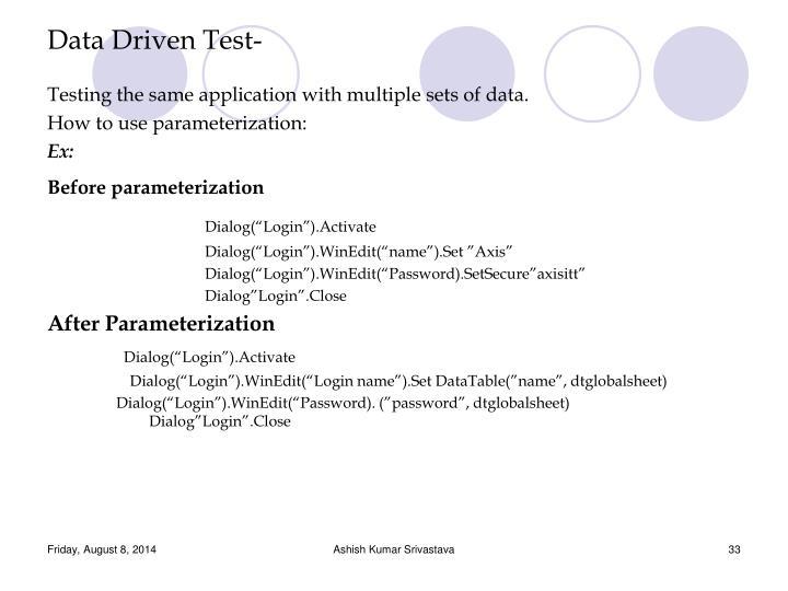 Data Driven Test-