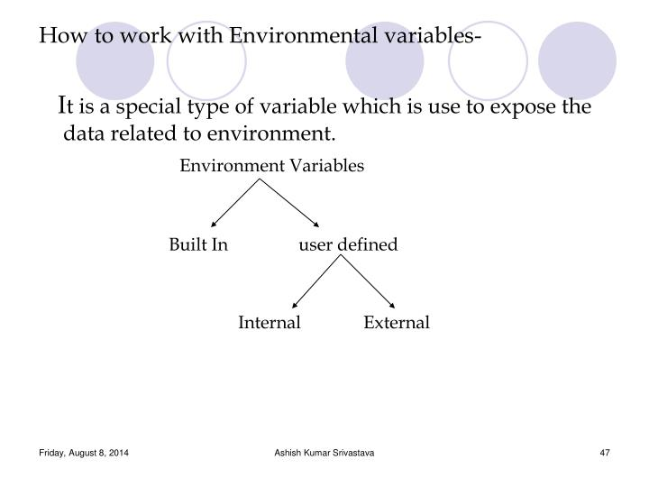 How to work with Environmental variables-