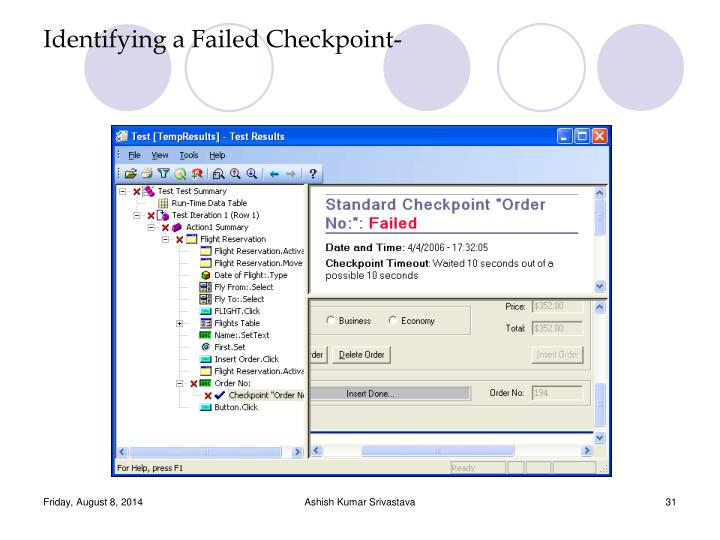 Identifying a Failed Checkpoint-