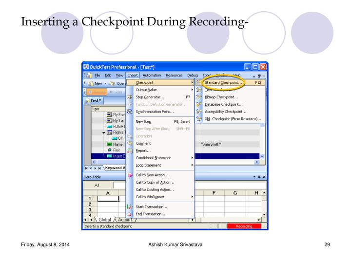 Inserting a Checkpoint During Recording-