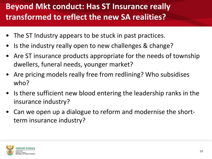 Beyond Mkt conduct: Has ST Insurance really transformed to reflect the new SA realities?