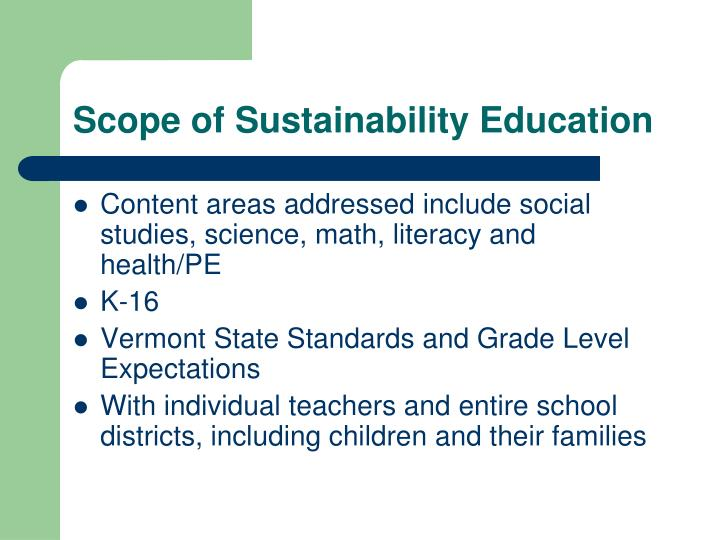 Scope of Sustainability Education