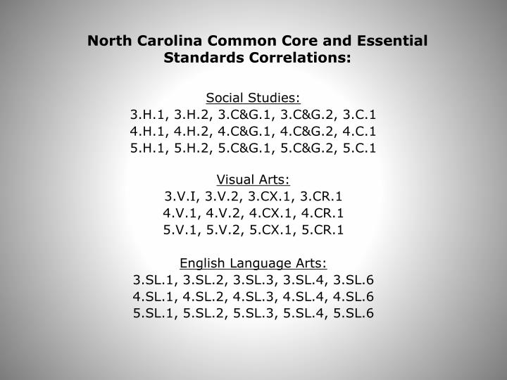 North Carolina Common Core and Essential Standards Correlations: