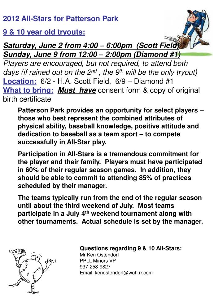 2012 All-Stars for Patterson Park