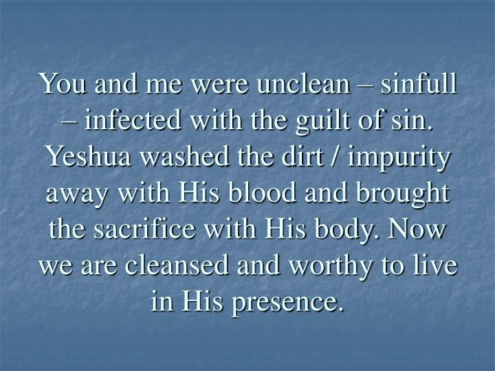 You and me were unclean – sinfull – infected with the guilt of sin. Yeshua washed the dirt / impurity away with His blood and brought the sacrifice with His body. Now we are cleansed and worthy to live in His presence.