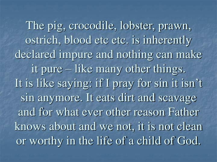 The pig, crocodile, lobster, prawn, ostrich, blood etc etc. is inherently declared impure and nothing can make it pure – like many other things.