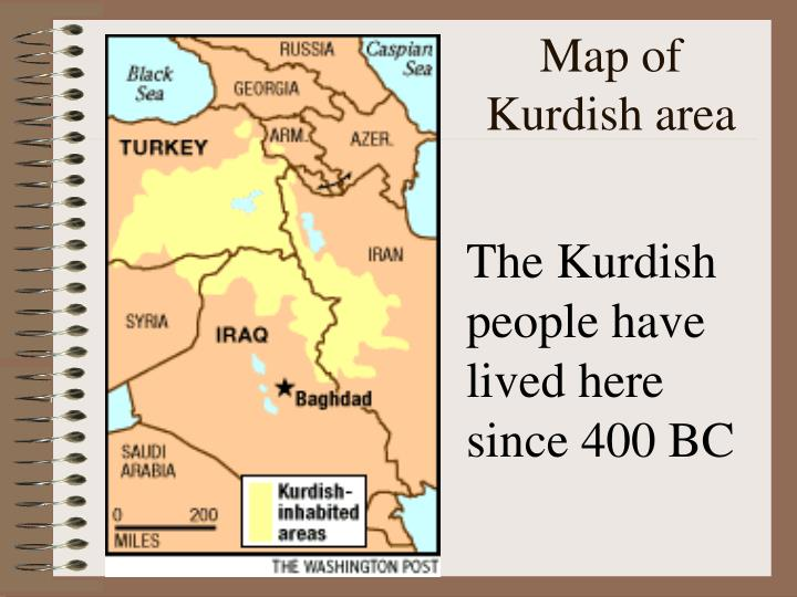 Map of Kurdish area