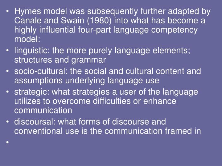 Hymes model was subsequently further adapted by Canale and Swain (1980) into what has become a highly influential four-part language competency model: