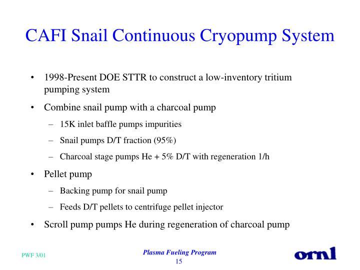 CAFI Snail Continuous Cryopump System