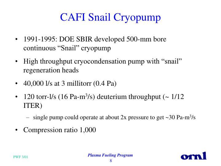 CAFI Snail Cryopump