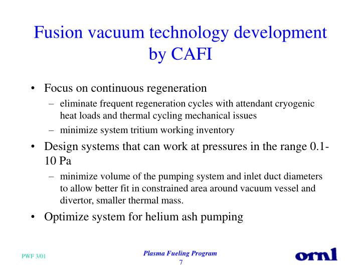 Fusion vacuum technology development by CAFI