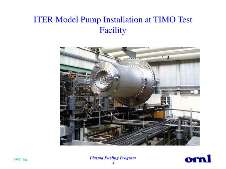 ITER Model Pump Installation at TIMO Test Facility