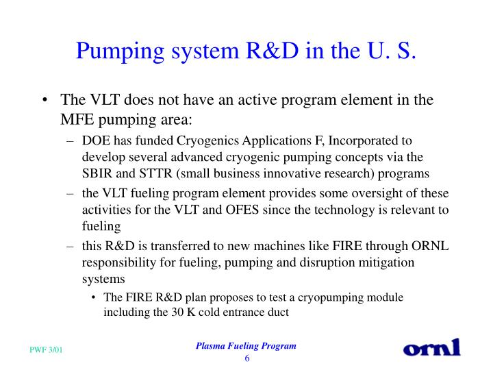 Pumping system R&D in the U. S.
