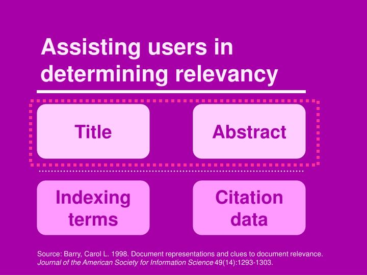 Assisting users in determining relevancy
