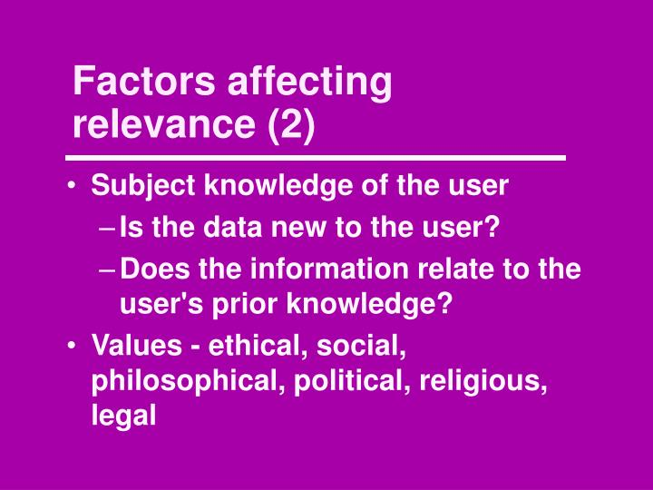 Factors affecting relevance (2)