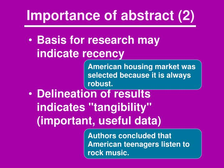 Importance of abstract (2)