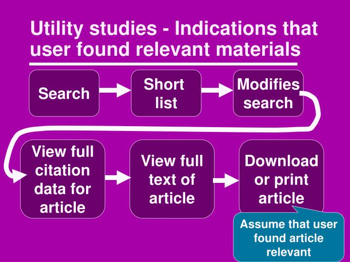 Utility studies - Indications that user found relevant materials