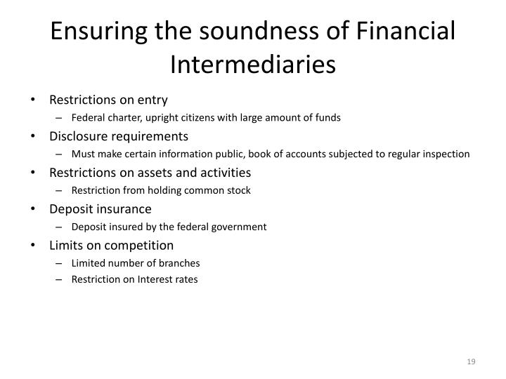 Ensuring the soundness of Financial Intermediaries