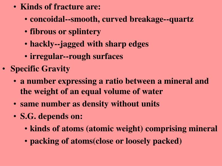 Kinds of fracture are: