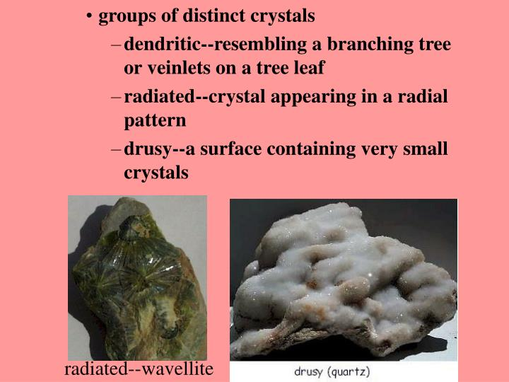 groups of distinct crystals
