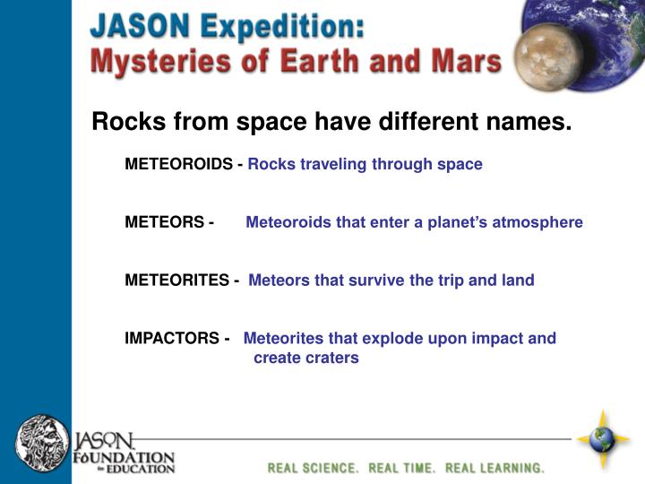 Rocks from space have different names.