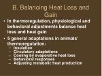 b balancing heat loss and gain