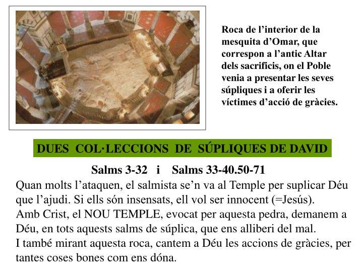 Roca de l'interior de la mesquita d'Omar, que correspon a l'antic Altar dels sacrificis, on el Poble venia a presentar les seves súpliques i a oferir les víctimes d'acció de gràcies.