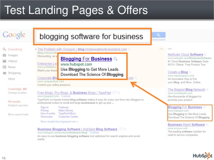 Test Landing Pages & Offers