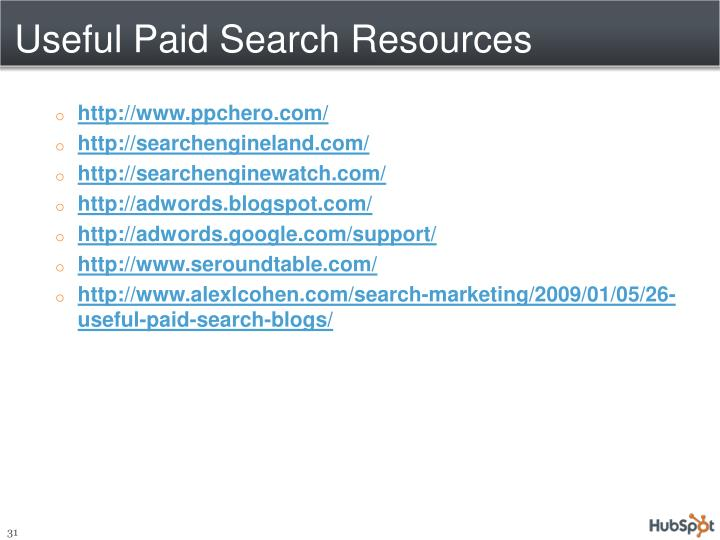 Useful Paid Search Resources