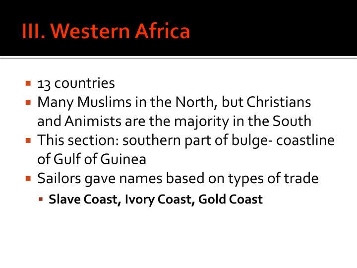 III. Western Africa