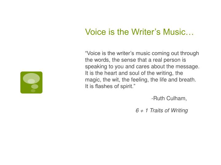 Voice is the Writer's Music…
